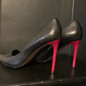 Aldo Black Leather Red Heels